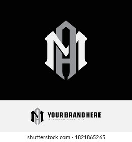 Initial letter M, A, MA or AM overlapping, interlock, monogram logo, white and gray color on black background