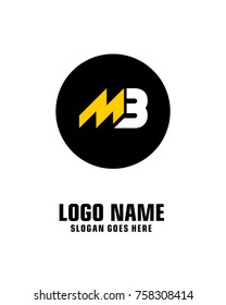 Initial letter M & B logo template vector