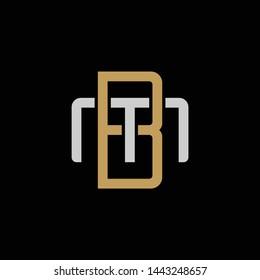 Initial letter M and B, MB, BM, overlapping interlock logo, monogram line art style, silver gold on black background