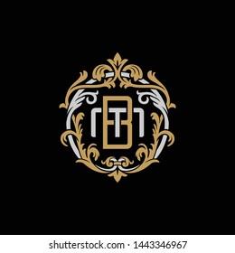Initial letter M and B, MB, BM, decorative ornament emblem badge, overlapping monogram logo, elegant luxury silver gold color on black background