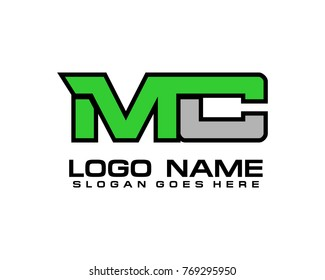 Initial letter M & C logo template vector
