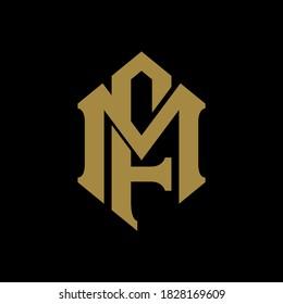 Initial letter M, F, MF or FM overlapping, interlock, monogram logo, gold color on black background