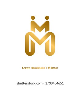 initial letter m graphic logo template, with crown and handshake vector illustration, sparkle golden logo design concept, elegant and luxury, isolated on white background.