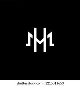 Initial letter M H HM MH minimalist art logo, white color on black background.