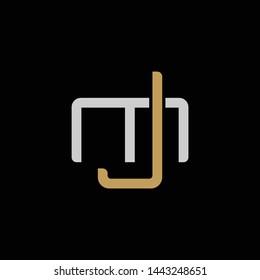 Initial letter M and J, MJ, JM, overlapping interlock logo, monogram line art style, silver gold on black background