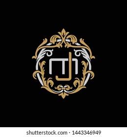 Initial letter M and J, MJ, JM, decorative ornament emblem badge, overlapping monogram logo, elegant luxury silver gold color on black background