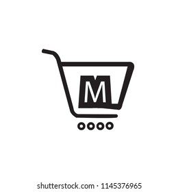 Initial letter M logo design on shopping cart icon
