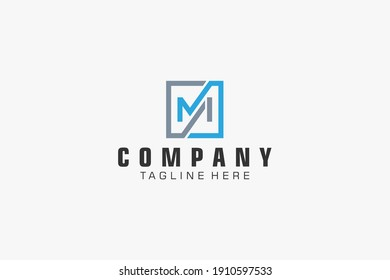 Initial Letter M Logo.  Geometric Line isolated. Usable for Business, Building and Technology Logos. Flat Vector Logo Design Template Element.