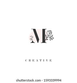 initial letter M logo with hand drawn flower element. design vector illustration symbol template