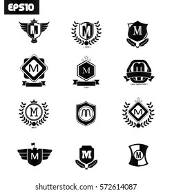 Initial Letter M Logo with Shield Icon Black Set