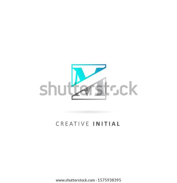 initial letter m logo with square element, design vector gradation color template