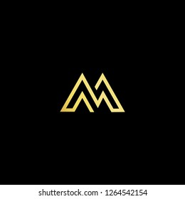 Initial letter M MM minimalist art logo, gold color on black background.