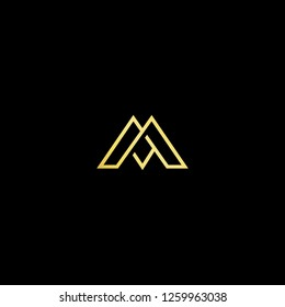 Initial letter M MM MJ JM minimalist art logo, gold color on black background. - Vector