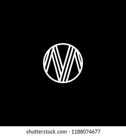 Initial letter M MM MMM OM MO minimalist art monogram shape logo, white color on black background.