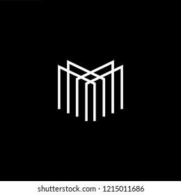 Initial letter M MM MMM minimalist art logo, white color on black background.