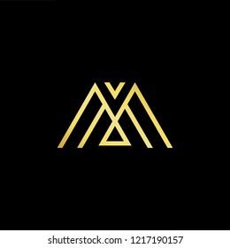 Initial letter M MM MMM minimalist art logo, gold color on black background.