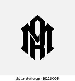 Initial letter M, R, MR or RM overlapping, interlock, monogram logo, black color on white background