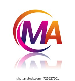 initial letter MA logotype company name orange and magenta color on circle and swoosh design. vector logo for business and company identity.