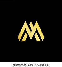 Initial letter MA AM minimalist art logo, gold color on black background.