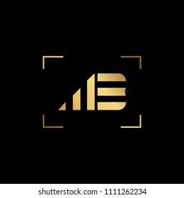 Initial letter MB BM ME EM minimalist art monogram shape logo, gold color on black background