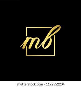 Initial letter MB BM minimalist art monogram shape logo, gold color on black background