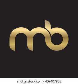 initial letter mb linked round lowercase logo gold black background