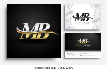 initial letter MB logotype company name colored gold and silver swoosh design. Vector sets for business identity on white background.