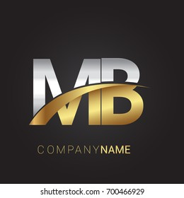 initial letter MB logotype company name colored gold and silver swoosh design. isolated on black background.