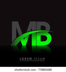 initial letter MB logotype company name colored green and black swoosh design. vector logo for business and company identity.