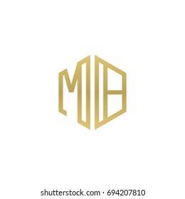 Initial letter MB, minimalist line art hexagon shape logo, gold color
