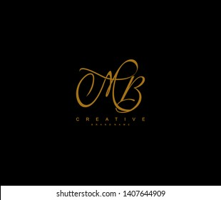 Initial Letter MB Script Gold Color Signature Logotype
