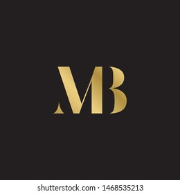 Initial letter mb uppercase modern logo design template elements. Gold letter Isolated on black  background. Suitable for business, consulting group company.