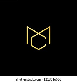 Initial letter MC CM minimalist art logo, gold color on black background.