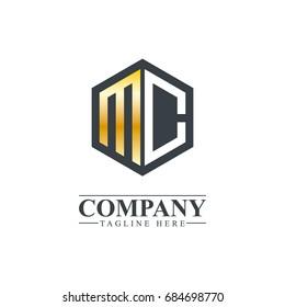 Initial Letter MC Hexagonal Design Logo