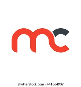 initial letter mc linked round lowercase logo red