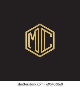 Initial letter MC, minimalist line art hexagon logo, gold color on black background