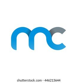 initial letter mc modern linked circle round lowercase logo blue gray
