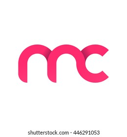 initial letter mc modern linked circle round lowercase logo pink