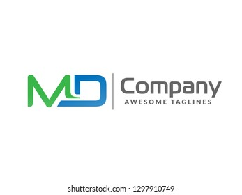 initial letter MD geometric strong monogram logo vector illustration isolated on white background