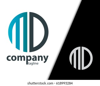 Initial Letter MD With Linked Circle Logo