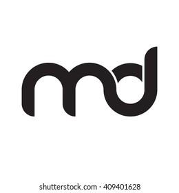 initial letter md linked round lowercase monogram logo black