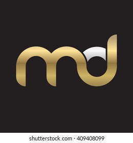 initial letter md linked round lowercase logo gold silver black background