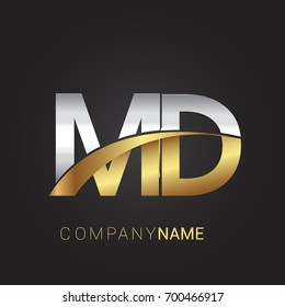 initial letter MD logotype company name colored gold and silver swoosh design. isolated on black background.