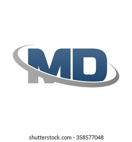 initial letter MD swoosh ring company logo blue gray