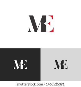 Initial Letter me uppercase modern logo design template elements. red letter Isolated on black white grey background. Suitable for business, consulting group company.