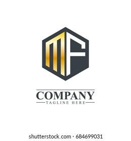 Initial Letter MF Hexagonal Design Logo