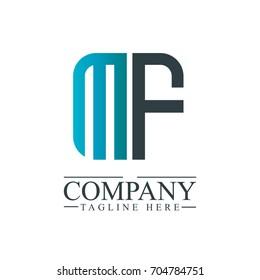 Initial Letter MF Linked Box Design Logo