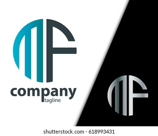 Initial Letter MF  With Linked Circle Logo