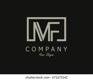Initial Letter MF Logo Design Template With Box
