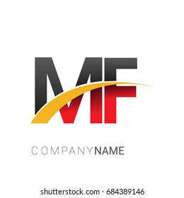 initial letter MF logotype company name colored red, black and yellow swoosh design. isolated on white background.